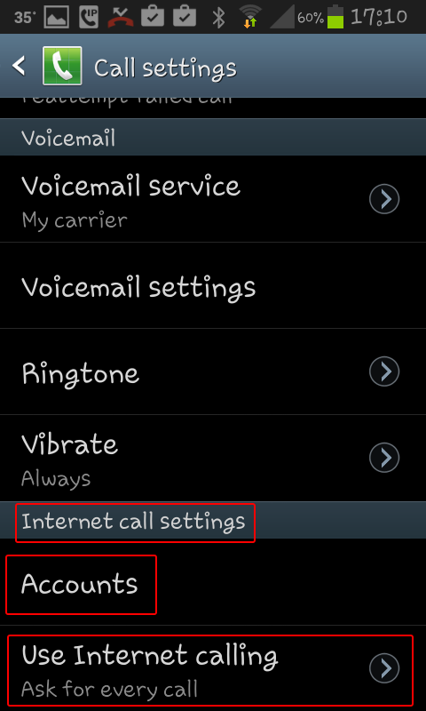 android internet calling