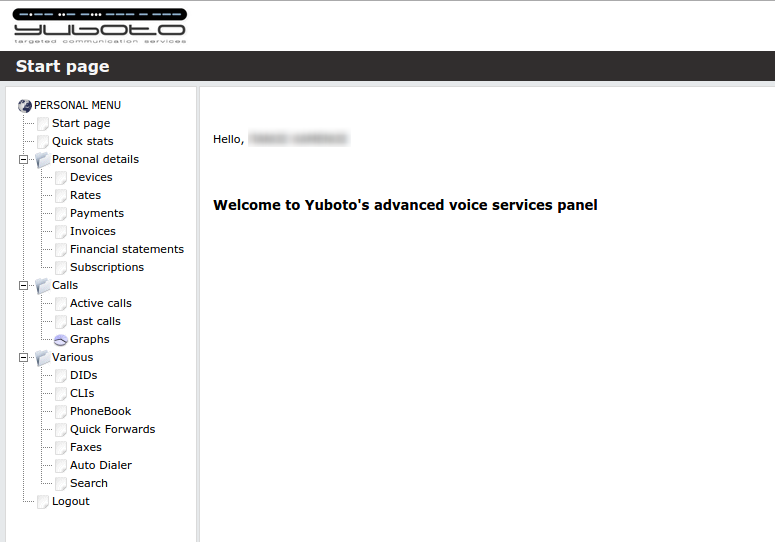 yuboto myvoip welcome screen